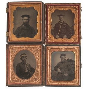 Four Tintypes of Civil War Sailors, Including Monitor at the Fort Union Case