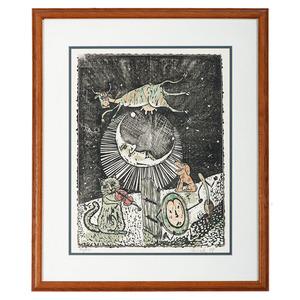 Gary Birch Folk Art Print, The Cow Jumped Over the Moon