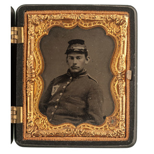 Civil War Ninth Plate Ruby Ambrotype of a Soldier Wearing a Patch Representing the 10th Legion, 56th New York Infantry