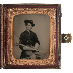 Sixth Plate Tintype of a Union Staff Officer Displaying Sword