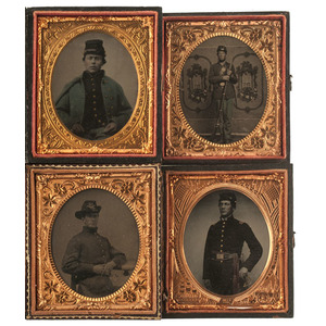 Sixth Plate Tintypes of Union Soldiers, Including Officer and Armed Private