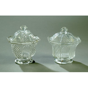 Two Lacy Glass Covered Sugar Bowls,