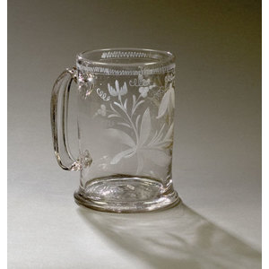 Stiegel-type Blown and Engraved Mug,