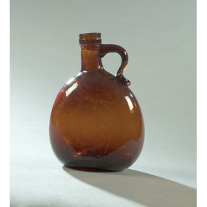 Deep Amber Blown Flask with Handle,