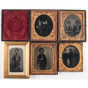 Tintypes of Children Dressed in Military Uniforms