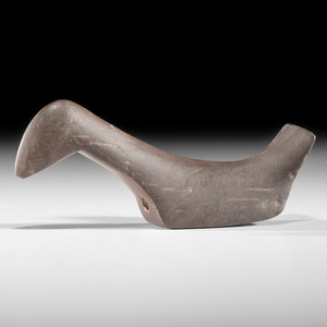 A Ferruginous Slate, Elongated Long Neck Birdstone, From the Collection of Jan Sorgenfrei, Oh