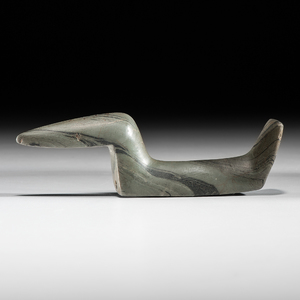 Elongated Slate Fantail Birdstone, From the Collection of Jan Sorgenfrei