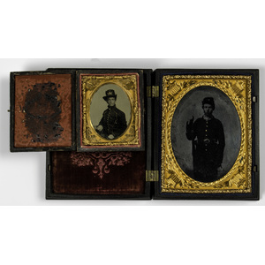 Quarter Plate and Ninth Plate Tintypes of Young Union Soldiers, One Armed