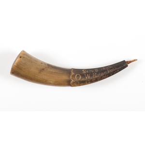Carved Powder Horn Identified to O. W. Brackett Co. G. 25th Maine Vol, 1863