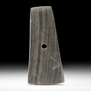An Adena Bell-Shaped Banded Slate Pendant, From the Collection of Jan Sorgenfrei, Ohio