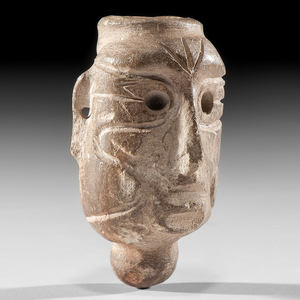 A Late Prehistoric Human Face Effigy Pipe, From the Collection of Jan Sorgenfrei, Ohio