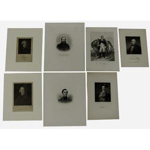 Steel Portrait Engravings of American Revolutionary War Heroes Plus, Lot of 8