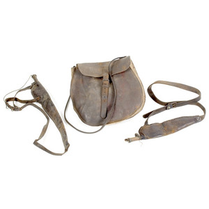 Hunting Pouch and Two Shot Flasks,