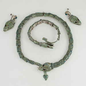 Mexican Enameled Sterling Silver Snake Necklace, Bracelet and Earrings