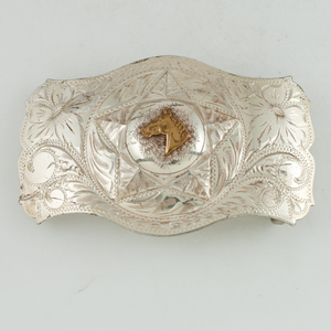 Star and Horse Head Sterling Silver Belt Buckle