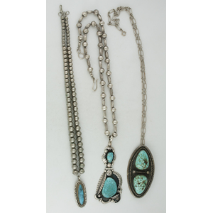 Navajo Silver and Turquoise Pendant Necklaces