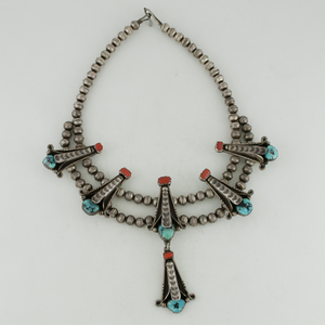 Navajo Silver, Coral and Turquoise Choker