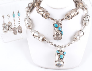Navajo Silver Cylindrical Barrel Necklace Sets