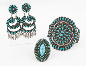 Navajo Turquoise Cluster Cuff Bracelet, Ring, and Earrings