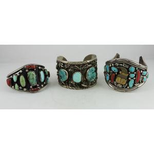 Navajo Silver Cuff Bracelets with Chunky Stone Inlay