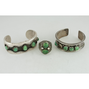 Navajo Silver Cuff Bracelets and Ring Set with Green Turquoise