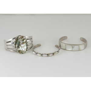 Southwestern Mother of Pearl and Silver Cuff Bracelet
