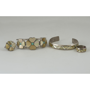 Zuni Silver and Mother of Pearl Cuff Bracelet and Ring Sets