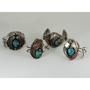 Navajo Silver Appliqued Cuff Bracelet with Bear Claws, Turquoise and Coral