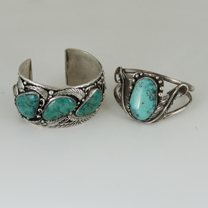 Navajo Turquoise and Leaf Applique Silver Cuff Bracelets