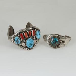 Navajo Silver Appliqued Cuff Bracelets