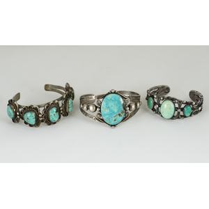 Navajo Silver Wire and Turquoise Cuff Bracelets