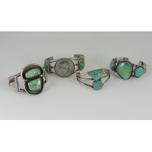 Navajo Turquoise and Silver Wire Cuff Bracelets