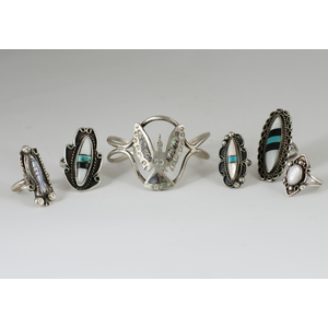 Southwestern Silver, Shell and Mother of Pearl Set Bracelet PLUS Rings