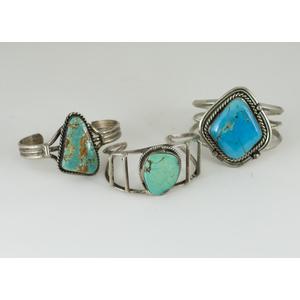 Southwestern Trapezoidal Shaped Turquoise Silver Cuff Bracelets