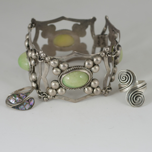 Mexican Silver Link Bracelet and Rings