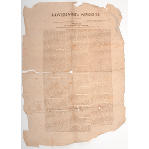 War of 1812 Governor's Speech New Hampshire Broadside, 1816, Property of N. Flayderman & Co.