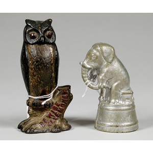 Two Cast Iron Figural Still Banks, Elephant on Drum & Owl in Tree,