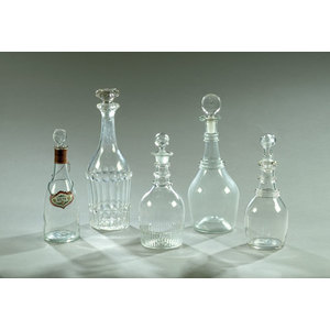 Lot of Five Early Blown Decanters,