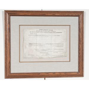 John Quincy Adams Signed Land Grant