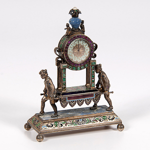 Austrian Miniature Jeweled and Enameled Clock