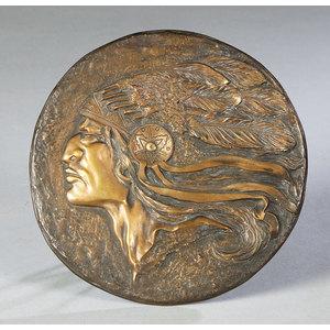 Artist Signed Bern Bronze Plaque of Plains Warrior,