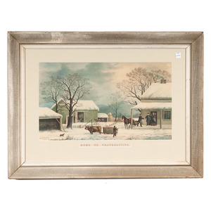 Home to Thanksgiving after Currier and Ives after G.H. Durrie