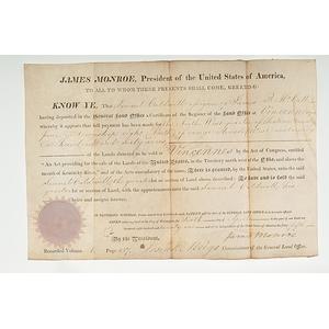 James Monroe Presidential Signed Land Grant
