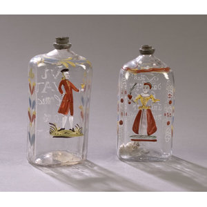 Pair of Enameled Stiegel-Type Spirits Bottles,