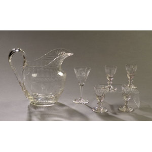 Early Cut Glass Water Jug & Wine Glasses,