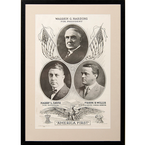 America First Ohio Republican Campaign Poster for Warren G. Harding, Harry L. Davis, and Frank B. Willis