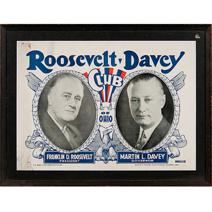 Roosevelt and Davey Club of Ohio Democratic Campaign Poster