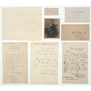 Civil War and Abraham Lincoln-Related Autographs, Signed Letters, Telegram and Photograph