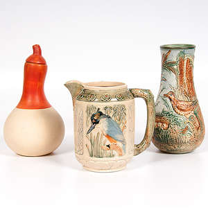 Weller Pottery Zona Kingfisher Pitcher, Glendale Vase, and Olla