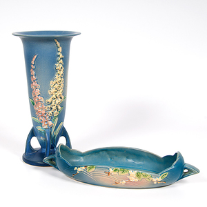 Roseville Pottery Vase and Center Bowl